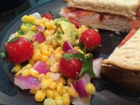 corn tomato avocado salad sandwich